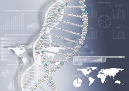DNA helix against the colored background, scientific conceptual background photo