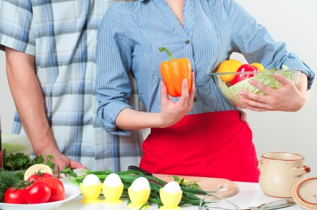 couple of cooking together, have fun time Stock Photo - 18346167