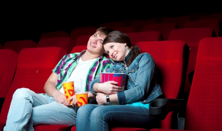 couple in a movie theater, watching a 3D movie photo