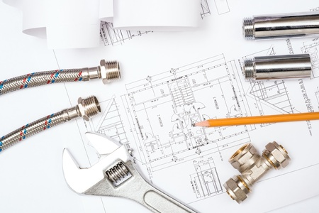 plumbing and drawings are on the desktop, workspace engineer Stock Photo - 18498025
