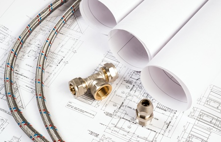 plumbing and drawings are on the desktop, workspace engineer Stock Photo - 18498021