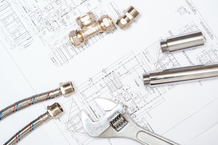 plumbing and drawings are on the desktop, workspace engineer Stock Photo - 18498030