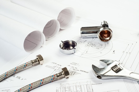 plumbing and drawings are on the desktop, workspace engineer Stock Photo - 18498010