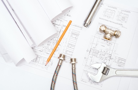 plumbing and drawings are on the desktop, workspace engineer Stock Photo - 18498012