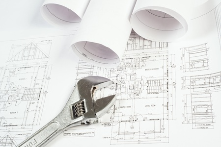 wrench and drawings are on the desktop, workspace engineer Stock Photo - 18498017