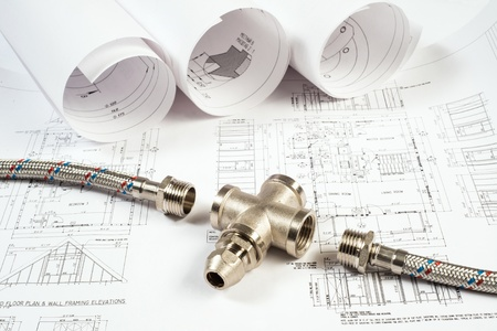 plumbing and drawings are on the desktop, workspace engineer Stock Photo - 18498026
