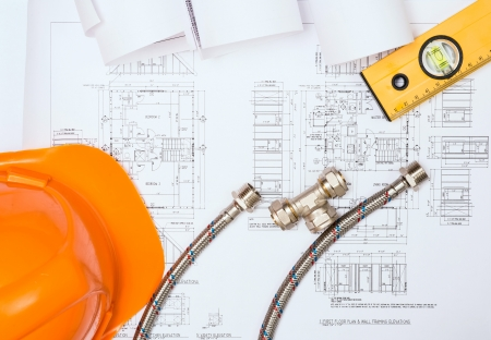 plumbing and drawings are on the desktop, workspace engineer Stock Photo - 18497965