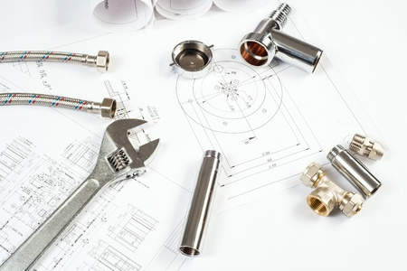 plumbing and drawings are on the desktop, workspace engineer Stock Photo - 18497979