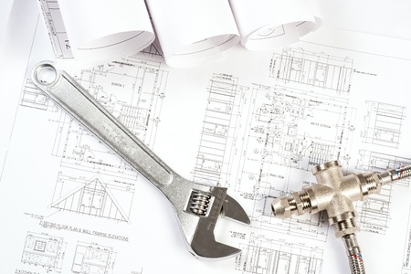 plumbing and drawings are on the desktop, workspace engineer Stock Photo - 18523907