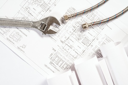 plumbing and drawings are on the desktop, workspace engineer Stock Photo - 18523905