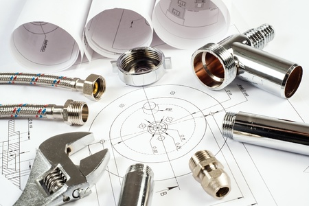 plumbing and drawings are on the desktop, workspace engineer Stock Photo - 18523914