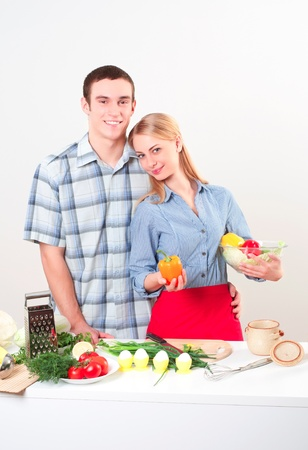 couple of cooking together, have fun time Stock Photo - 18660976