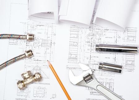 bathroom design: plumbing and drawings are on the desktop, workspace engineer