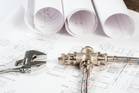 plumbing and drawings are on the desktop, workspace engineer Stock Photo - 18786611