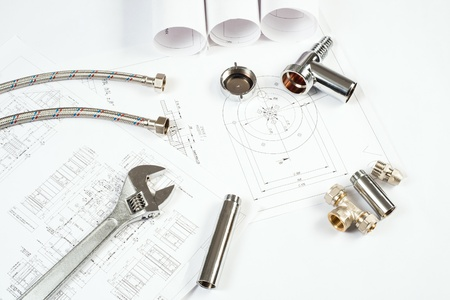 plumbing and drawings are on the desktop, workspace engineer Stock Photo - 18815727