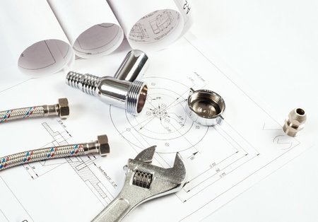 plumbing and drawings are on the desktop, workspace engineer Stock Photo - 18847913