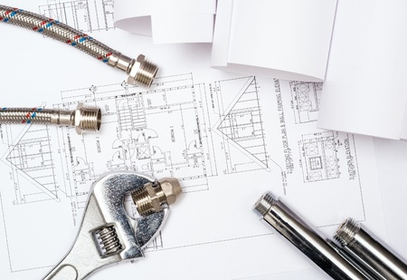 plumbing and drawings are on the desktop, workspace engineer Stock Photo - 18902046