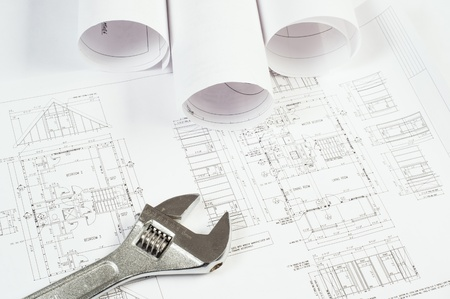 wrench and drawings are on the desktop, workspace engineer Stock Photo - 18907725