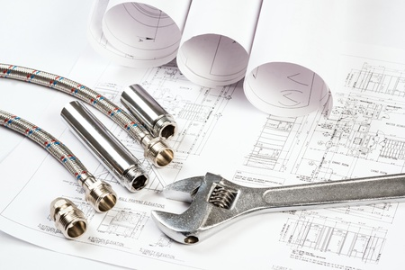 plumbing and drawings are on the desktop, workspace engineer Stock Photo - 18971452