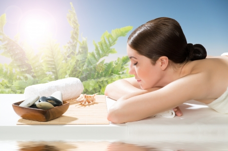 beautiful spa woman lying on the couch, gets pleasure Stock Photo - 19026271
