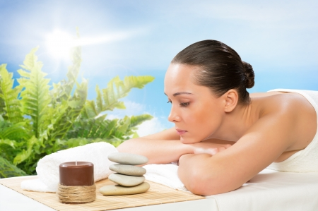 beautiful spa woman lying on the couch, gets pleasure Stock Photo - 19056123
