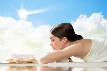 beautiful spa woman lying on the couch, gets pleasure Stock Photo - 19096204