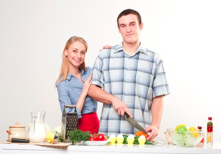 couple of cooking together, have fun time Stock Photo - 19126116