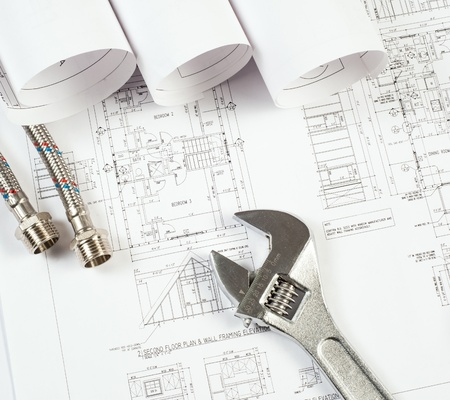 plumbing and drawings are on the desktop, workspace engineer Stock Photo - 19140474