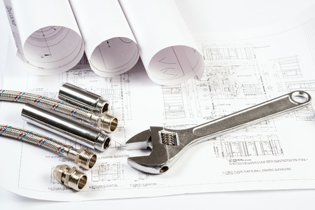 plumbing and drawings are on the desktop, workspace engineer photo