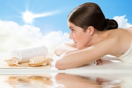 beautiful spa woman lying on the couch, gets pleasure Stock Photo - 19340952