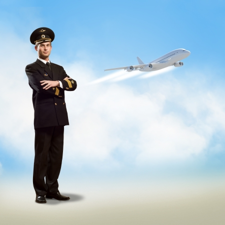 pilot light: pilot is in the form of arms folded, against the sky, the clouds and the plane Stock Photo