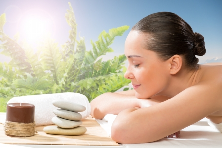 beautiful spa woman lying on the couch, gets pleasure Stock Photo - 20569695