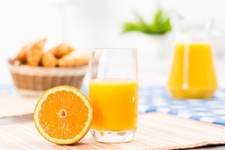 juice bar: orange and a glass of orange juice, still life
