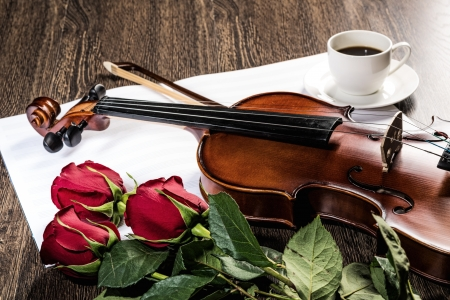 Violin, rose, cup of coffee and music books, still life photo