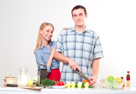 couple of cooking together, have fun time photo