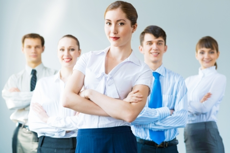 concept of teamwork, business woman crossed her arms over her team