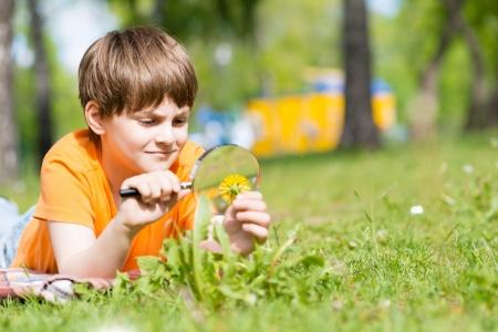 jongen in het park met een vergrootglas beschouwt planten