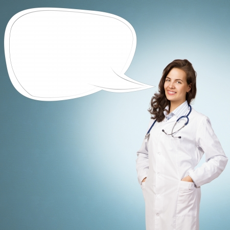 icone: young woman doctor says cloud over his head, place for text