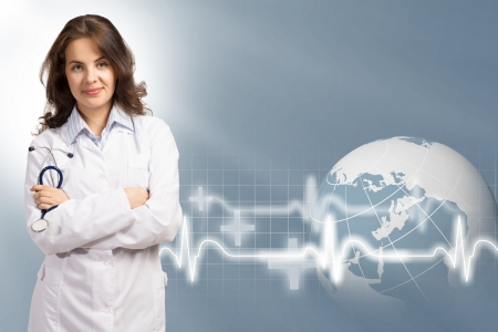 young female doctor put her hands on his chest, on the abstract medical background photo