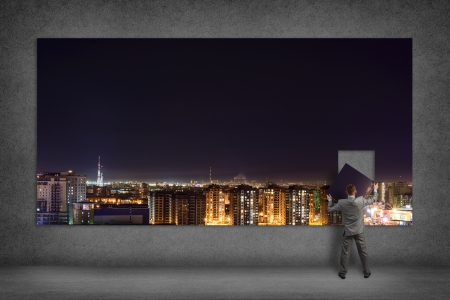 collects: businessman collects the image of city   at night, a place for text