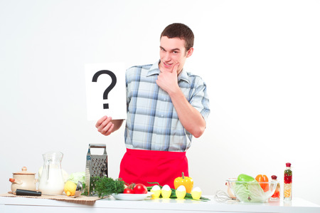 Chef holding a plate with an inscription question mark photo