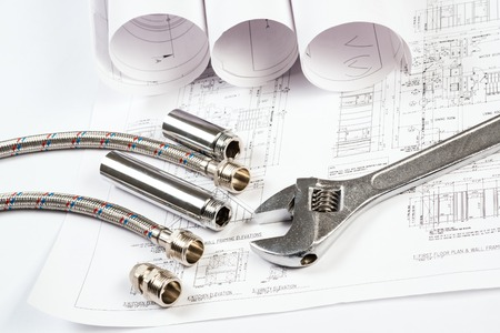 plumbing and drawings are on the desktop, workspace engineer Stock Photo - 22604515