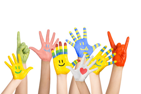 children's: painted children s hands in different colors with smilies