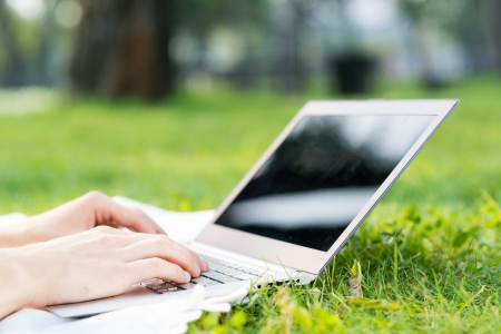 young man in the park sitting on the grass with a laptop, close-up hands and laptop