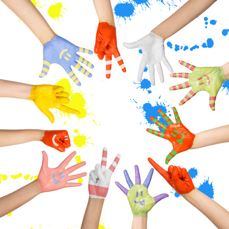 children s: painted children s hands in different colors with smilies