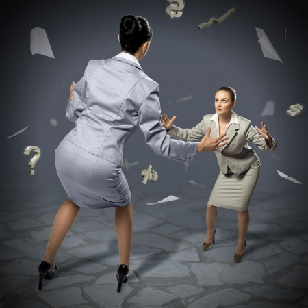 contestation: two businesswomen fighting as sumoists, the concept of competition in business