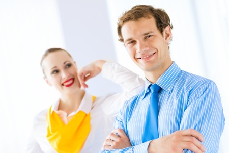 businessteamwork: Businessman receiving congratulations from his colleagues in the leadership team work Stock Photo