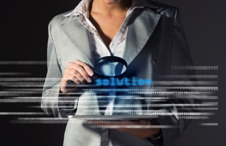Business woman found solution in information security, information security concept photo