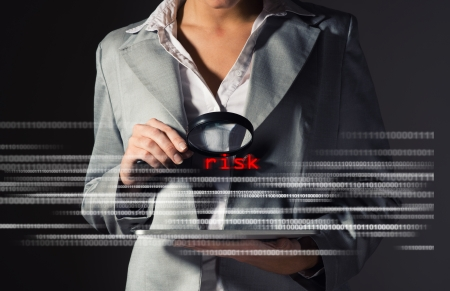 Business woman found risks in information security, information security concept photo
