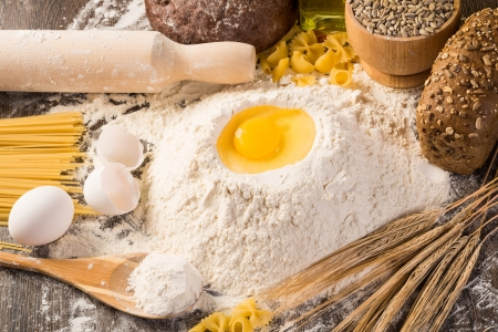 flour, eggs, wheat still-life  Enjoy homemade food photo